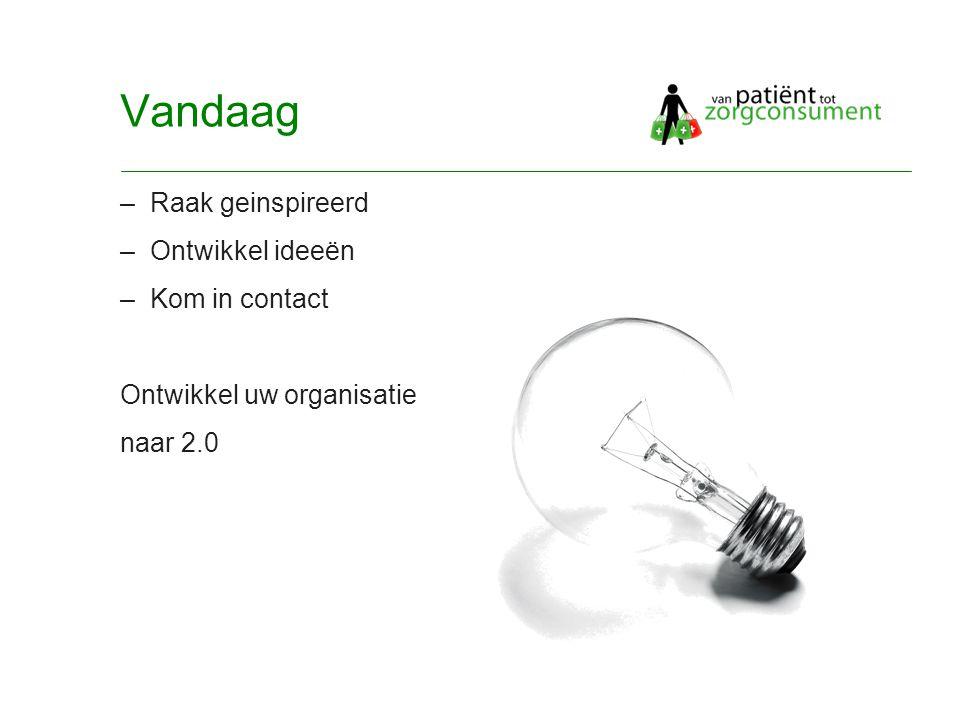 © Twynstra Gudde 17-11-2007 Van Patient0.1 tot zorgconsument2.0 7 Vandaag –Raak geinspireerd –Ontwikkel ideeën –Kom in contact Ontwikkel uw organisatie naar 2.0