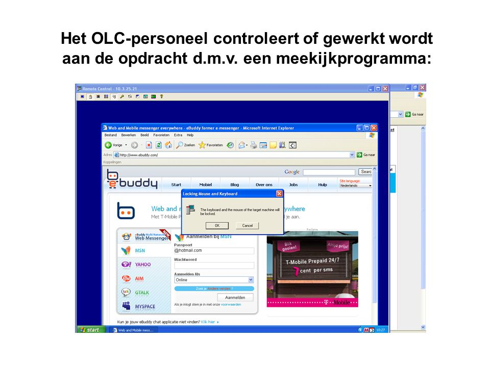 De OLC-medewerker wijst de leerling een computer toe en scant de schoolpas in. M.b.v. het programma Aura ComputerReserveren wordt bijgehouden wie waar