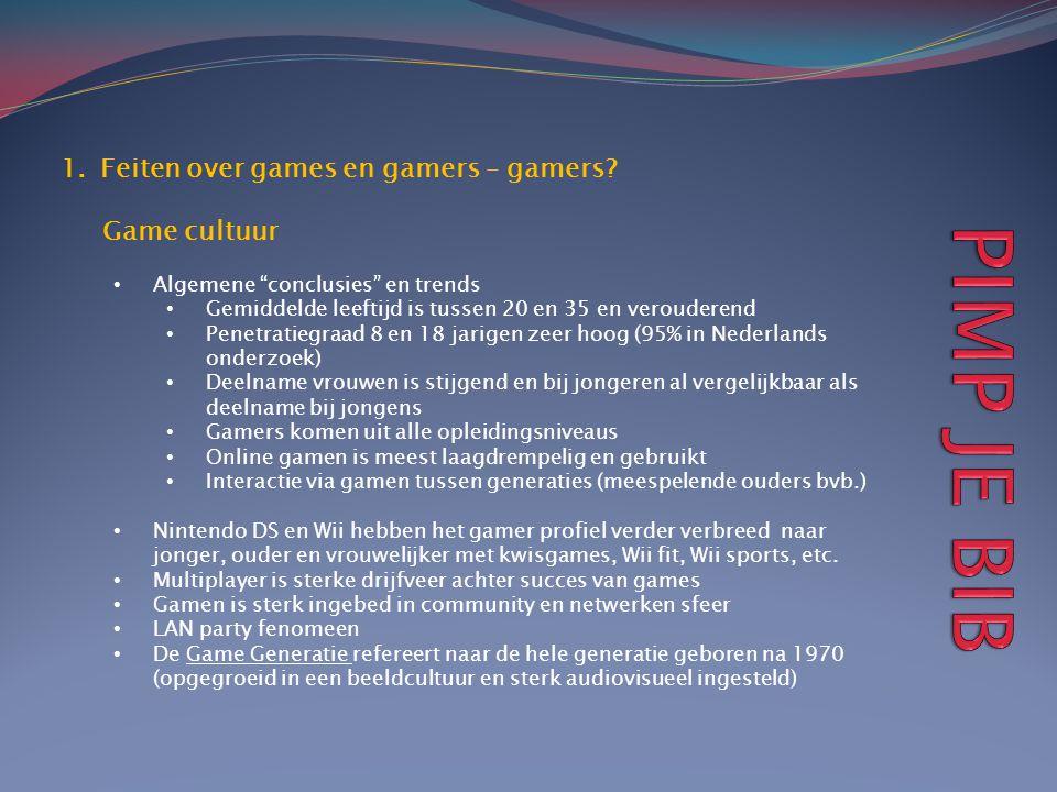 """1.Feiten over games en gamers – gamers? Game cultuur • Algemene """"conclusies"""" en trends • Gemiddelde leeftijd is tussen 20 en 35 en verouderend • Penet"""