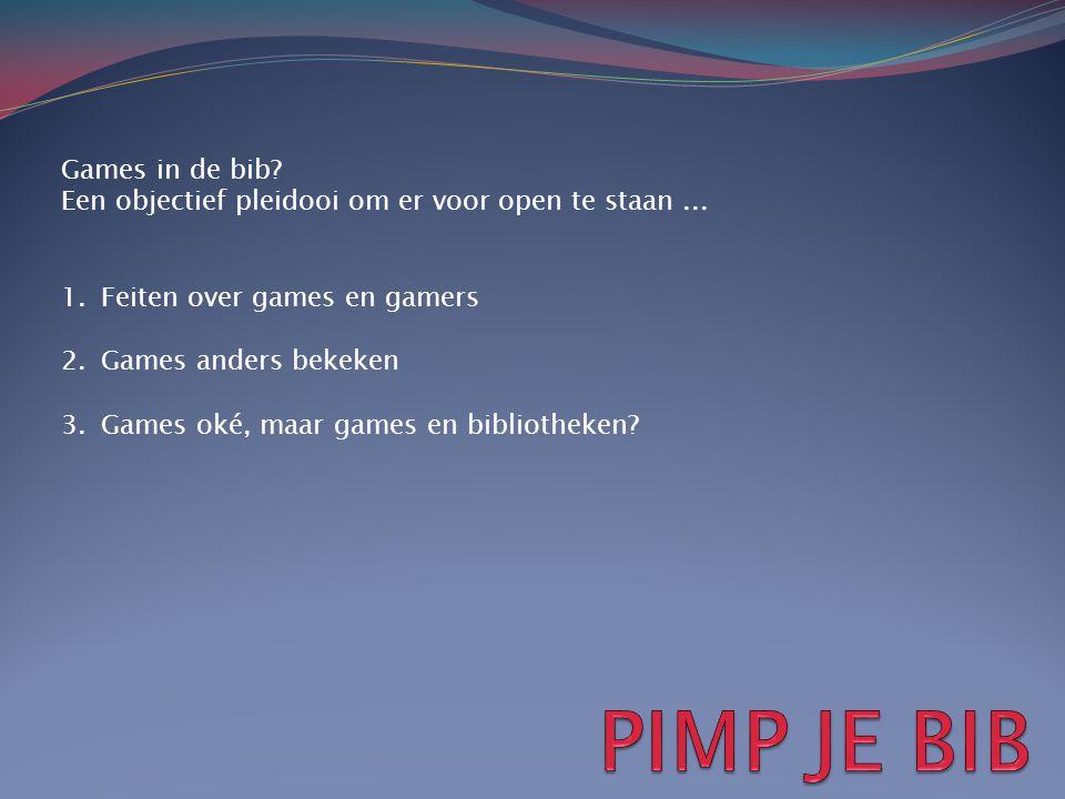 Games in de bib? Een objectief pleidooi om er voor open te staan... 1.Feiten over games en gamers 2.Games anders bekeken 3.Games oké, maar games en bi