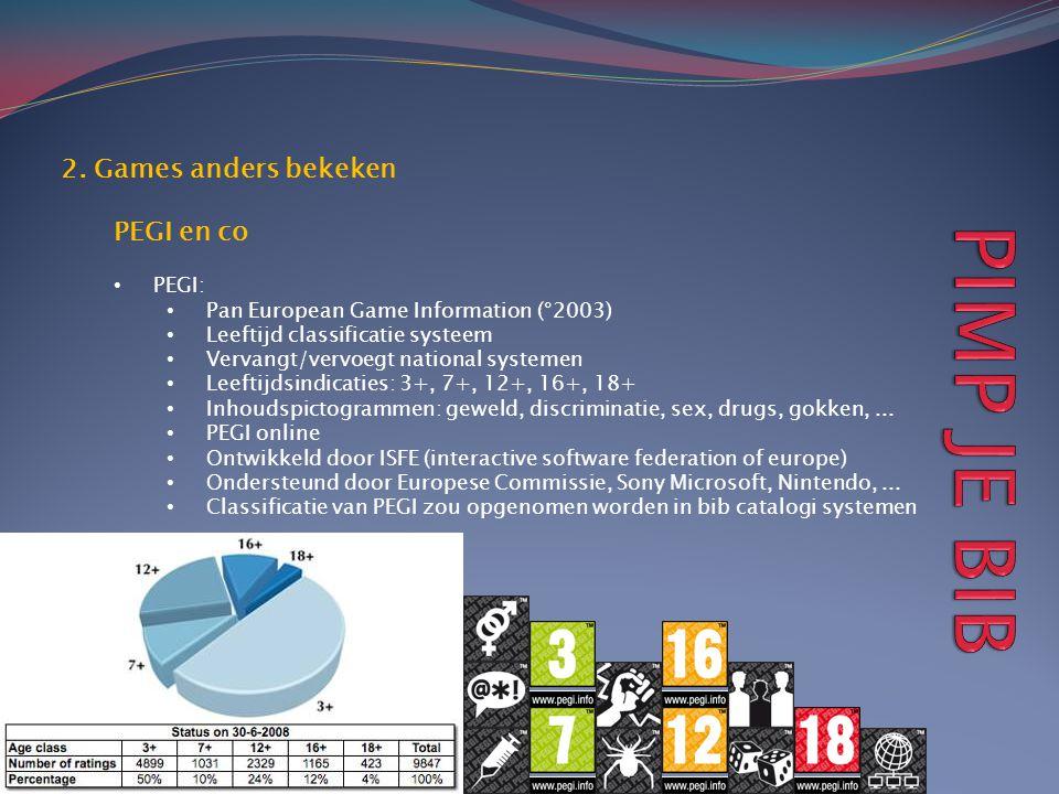 2. Games anders bekeken PEGI en co • PEGI: • Pan European Game Information (°2003) • Leeftijd classificatie systeem • Vervangt/vervoegt national syste