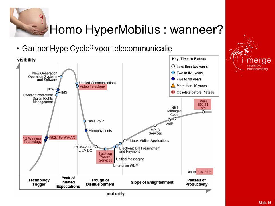 Slide 16 •Gartner Hype Cycle © voor telecommunicatie Homo HyperMobilus : wanneer
