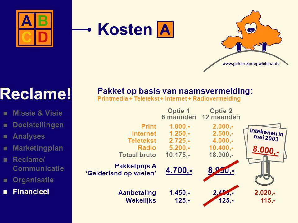  Missie & Visie  Doelstellingen  Analyses  Marketingplan  Reclame/ Communicatie  Organisatie  Financieel Reclame.