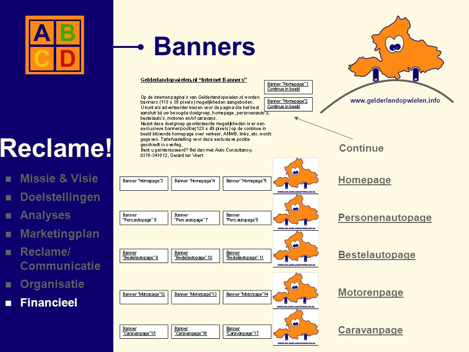 Banners Reclame!  Missie & Visie  Doelstellingen  Analyses  Marketingplan  Reclame/ Communicatie  Organisatie  Financieel AB CD www.gelderlando