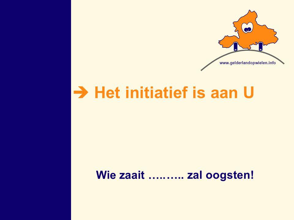 ….. zal oogsten!  Het initiatief is aan U Wie zaait ….. www.gelderlandopwielen.info