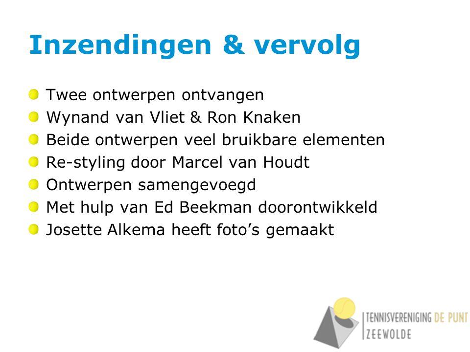Inzendingen & vervolg Twee ontwerpen ontvangen Wynand van Vliet & Ron Knaken Beide ontwerpen veel bruikbare elementen Re-styling door Marcel van Houdt
