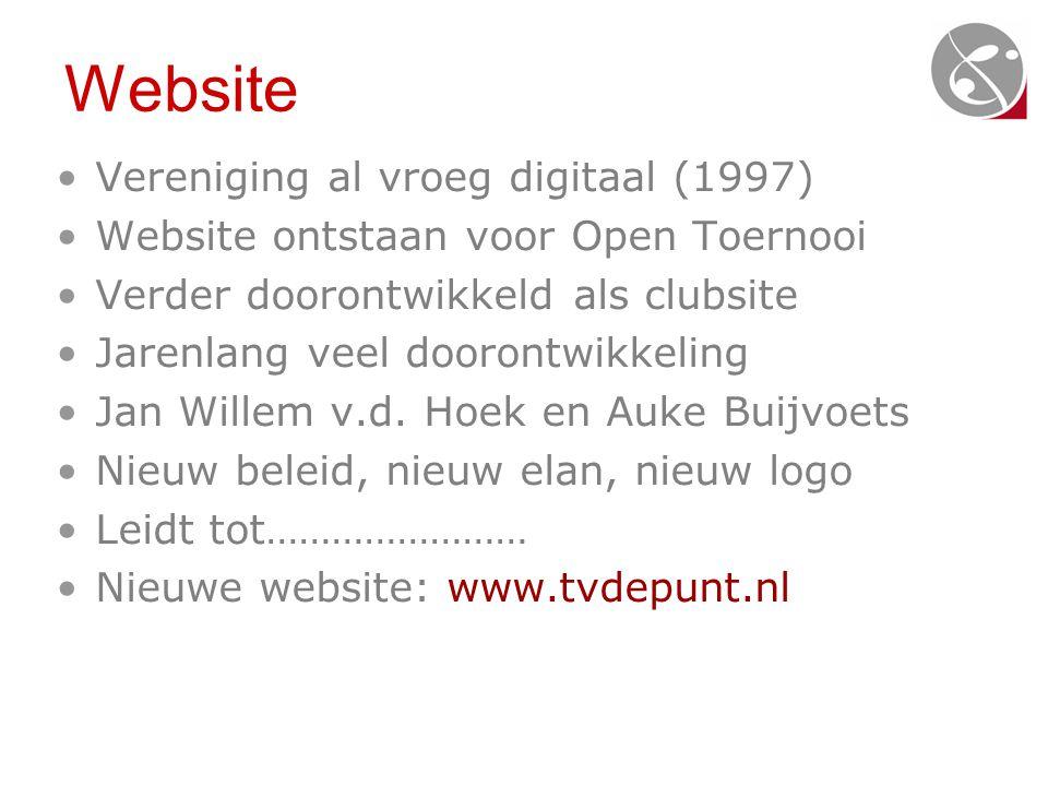Website •Vereniging al vroeg digitaal (1997) •Website ontstaan voor Open Toernooi •Verder doorontwikkeld als clubsite •Jarenlang veel doorontwikkeling