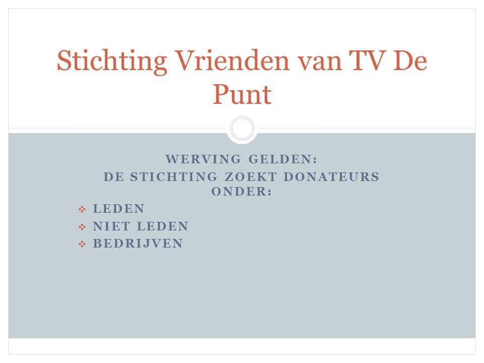 UITGAVEN: PROJECTEN REALISEREN DIE BUITEN DE 'NORMALE' BEGROTING VALLEN IN SAMENSPRAAK MET DAGELIJKS BESTUUR Stichting Vrienden van TV De Punt