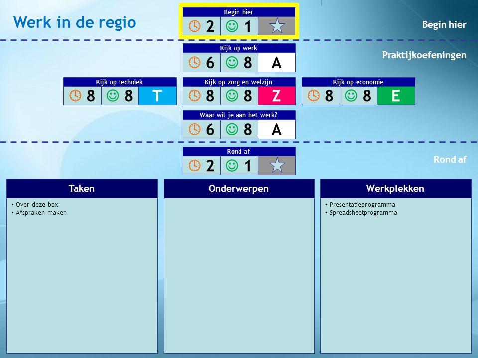 • Over deze box • Afspraken maken • Presentatieprogramma • Spreadsheetprogramma TakenOnderwerpenWerkplekken  2 2  1 1 Begin hier  8 8  8 8Z Ve