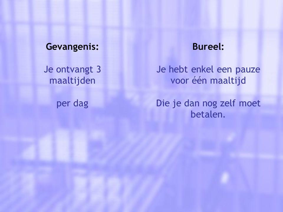 Gevangenis: Je ontvangt 3 maaltijden per dag Bureel: Je hebt enkel een pauze voor één maaltijd Die je dan nog zelf moet betalen.