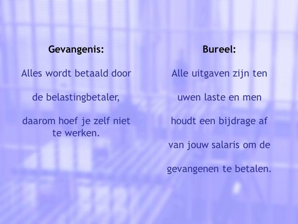 Gevangenis: Alles wordt betaald door de belastingbetaler, daarom hoef je zelf niet te werken.