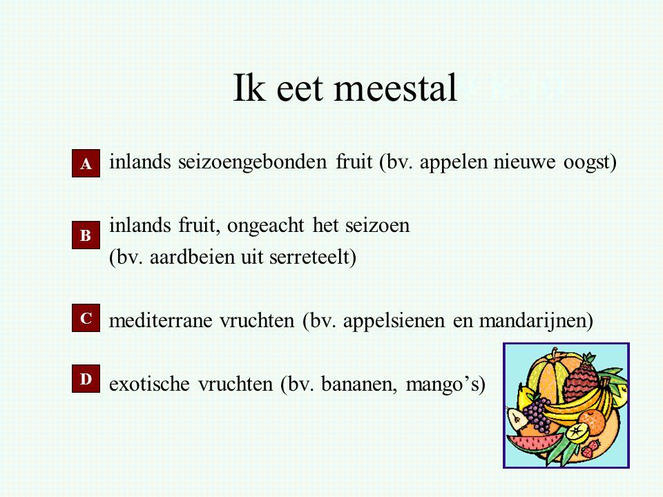 Ik eet meestal9.8-10 inlands seizoengebonden fruit (bv. appelen nieuwe oogst) inlands fruit, ongeacht het seizoen (bv. aardbeien uit serreteelt) medit