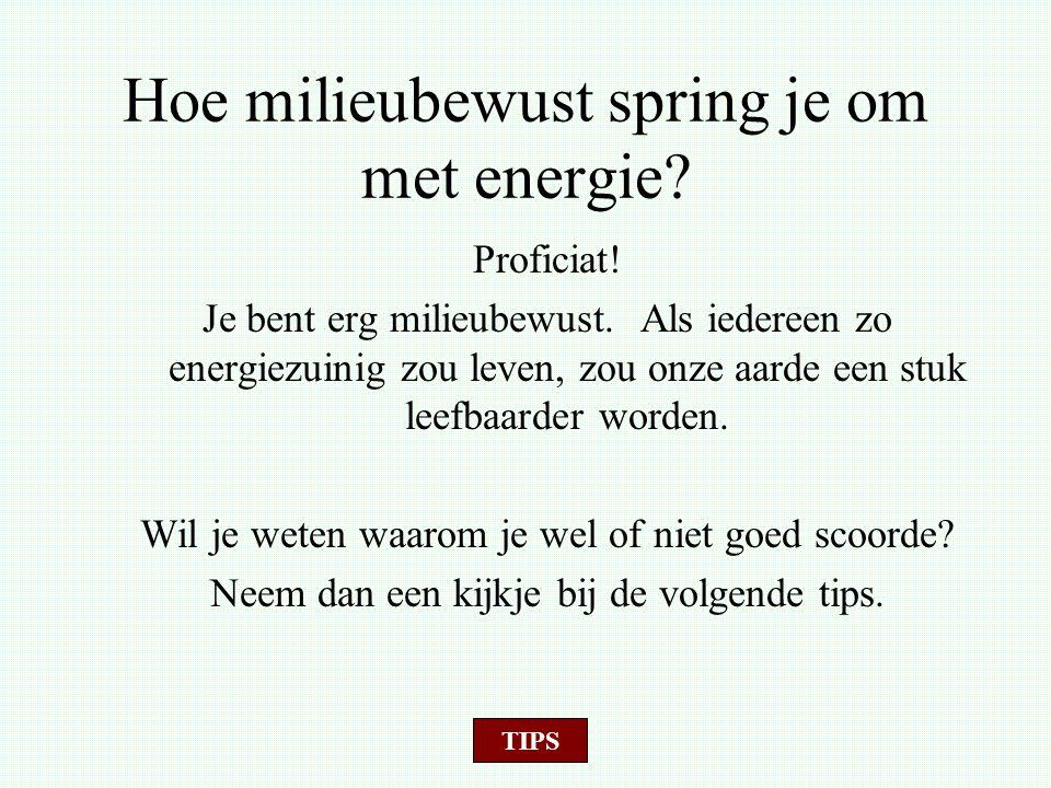 Hoe milieubewust spring je om met energie? Proficiat! Je bent erg milieubewust. Als iedereen zo energiezuinig zou leven, zou onze aarde een stuk leefb