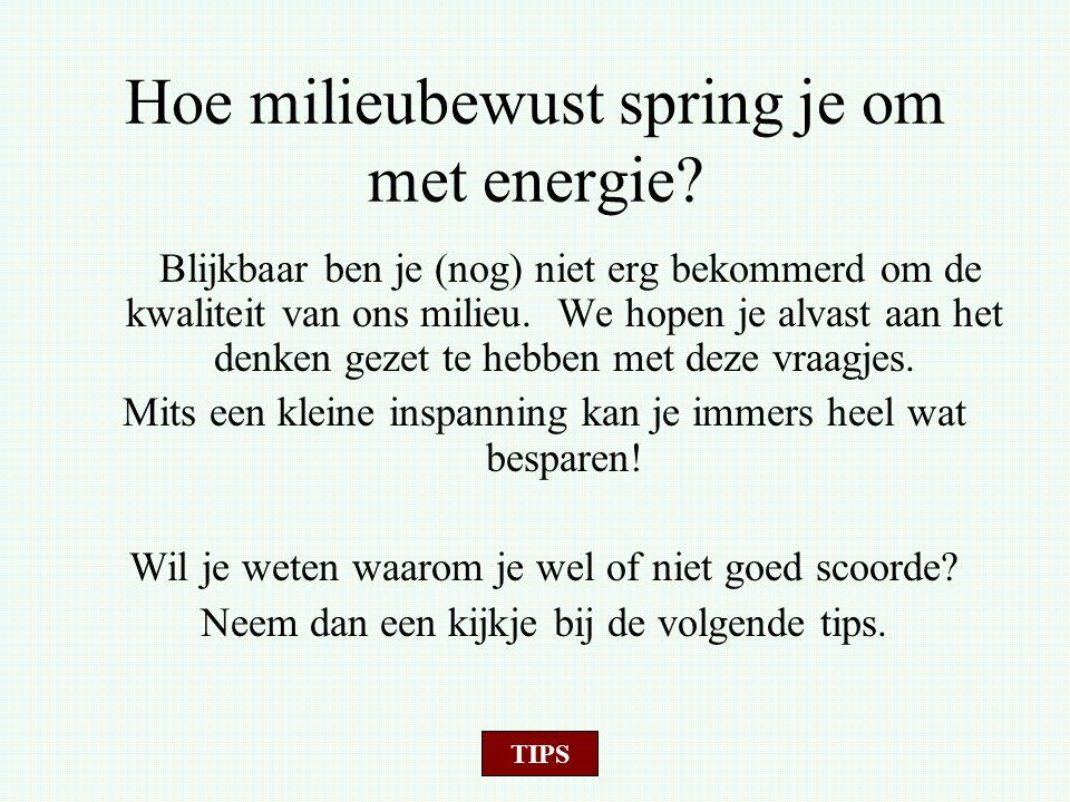 Hoe milieubewust spring je om met energie? Blijkbaar ben je (nog) niet erg bekommerd om de kwaliteit van ons milieu. We hopen je alvast aan het denken