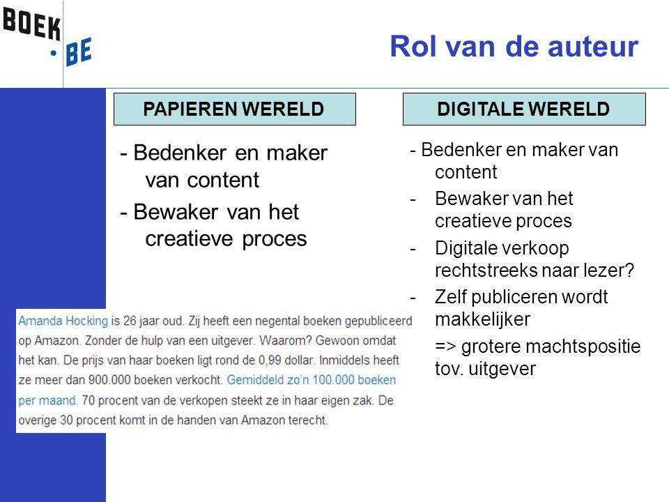 Rol van de auteur - Bedenker en maker van content - Bewaker van het creatieve proces DIGITALE WERELDPAPIEREN WERELD - Bedenker en maker van content -B