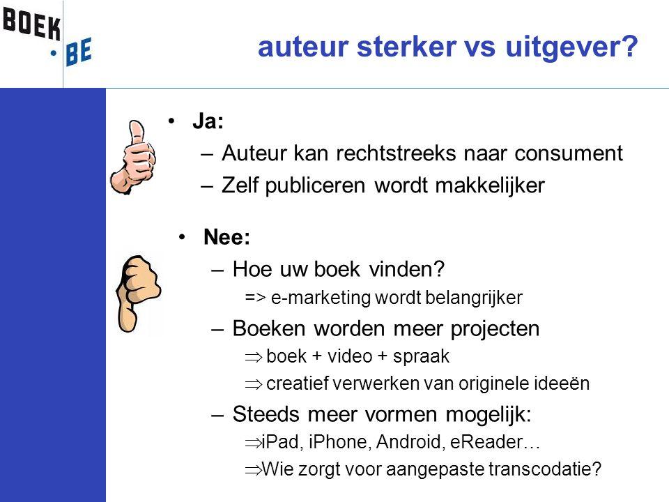•Ja: –Auteur kan rechtstreeks naar consument –Zelf publiceren wordt makkelijker auteur sterker vs uitgever? •Nee: –Hoe uw boek vinden? => e-marketing
