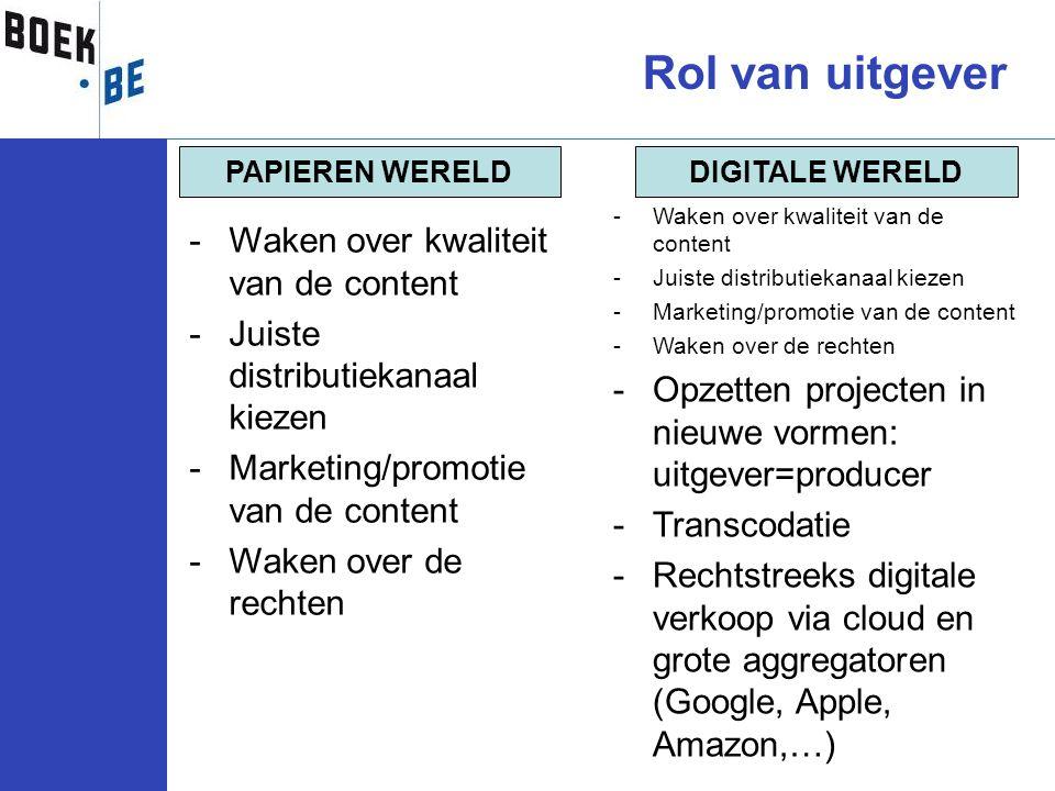 Rol van uitgever -Waken over kwaliteit van de content -Juiste distributiekanaal kiezen -Marketing/promotie van de content -Waken over de rechten DIGIT