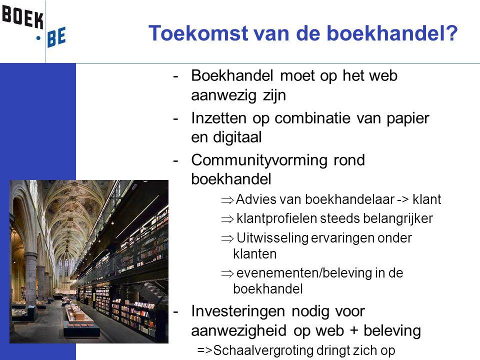 Toekomst van de boekhandel? -Boekhandel moet op het web aanwezig zijn -Inzetten op combinatie van papier en digitaal -Communityvorming rond boekhandel