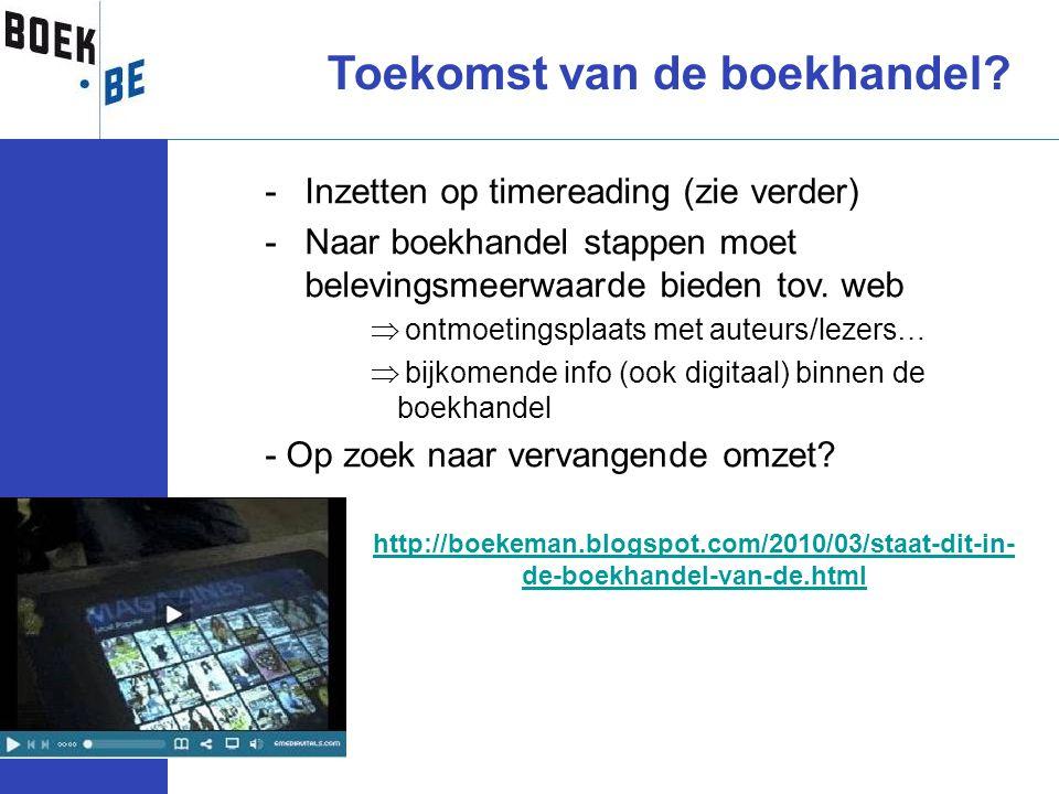 Toekomst van de boekhandel? -Inzetten op timereading (zie verder) -Naar boekhandel stappen moet belevingsmeerwaarde bieden tov. web  ontmoetingsplaat