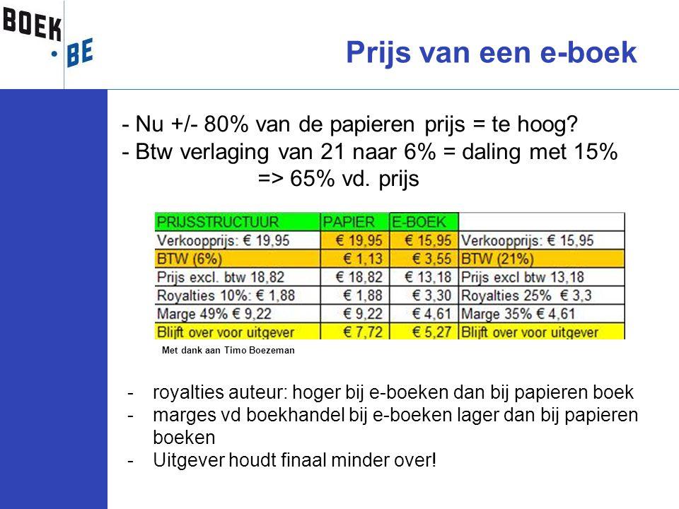 - Nu +/- 80% van de papieren prijs = te hoog? - Btw verlaging van 21 naar 6% = daling met 15% => 65% vd. prijs Prijs van een e-boek -royalties auteur: