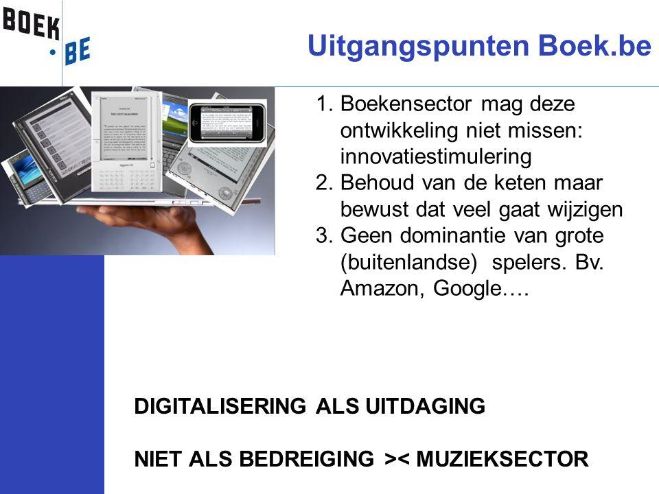 Uitgangspunten Boek.be DIGITALISERING ALS UITDAGING NIET ALS BEDREIGING >< MUZIEKSECTOR 1.Boekensector mag deze ontwikkeling niet missen: innovatiesti