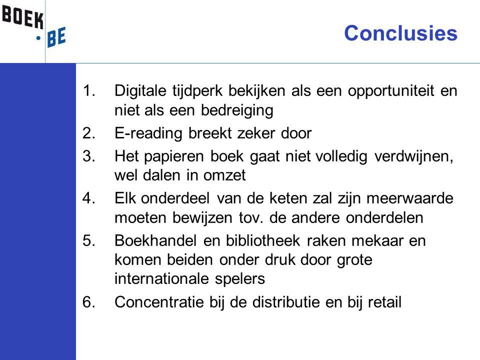 1.Digitale tijdperk bekijken als een opportuniteit en niet als een bedreiging 2.E-reading breekt zeker door 3.Het papieren boek gaat niet volledig ver