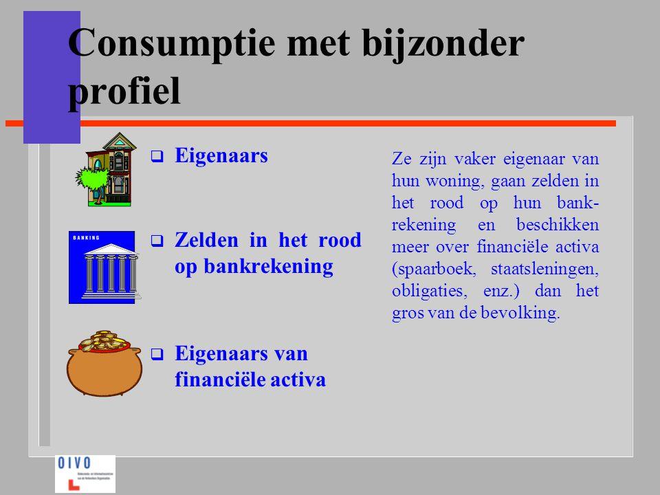 Consumptie met bijzonder profiel  Eigenaars  Zelden in het rood op bankrekening  Eigenaars van financiële activa Ze zijn vaker eigenaar van hun won