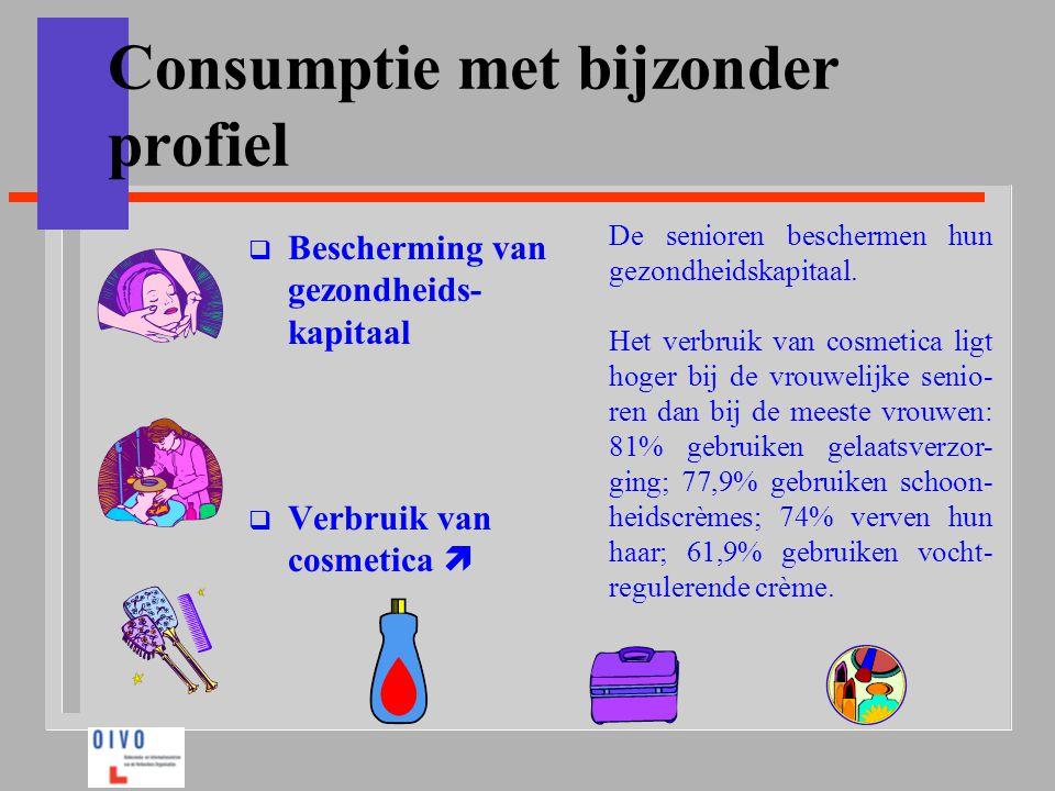 Consumptie met bijzonder profiel  Bescherming van gezondheids- kapitaal  Verbruik van cosmetica  De senioren beschermen hun gezondheidskapitaal. He