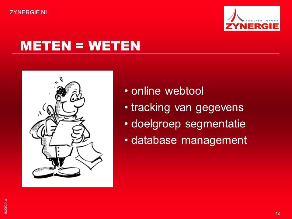6/20/2014 ZYNERGIE.NL 12 METEN = WETEN • online webtool • tracking van gegevens • doelgroep segmentatie • database management