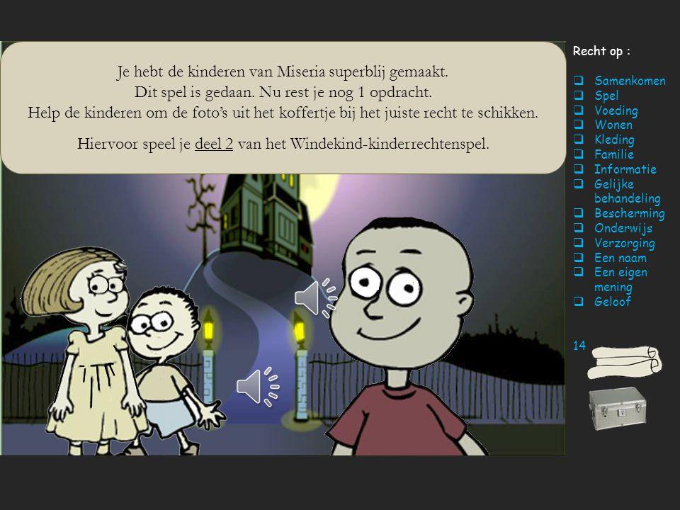Recht op :  Samenkomen  Spel  Voeding  Wonen  Kleding  Familie  Informatie  Gelijke behandeling  Bescherming  Onderwijs  Verzorging  Een n
