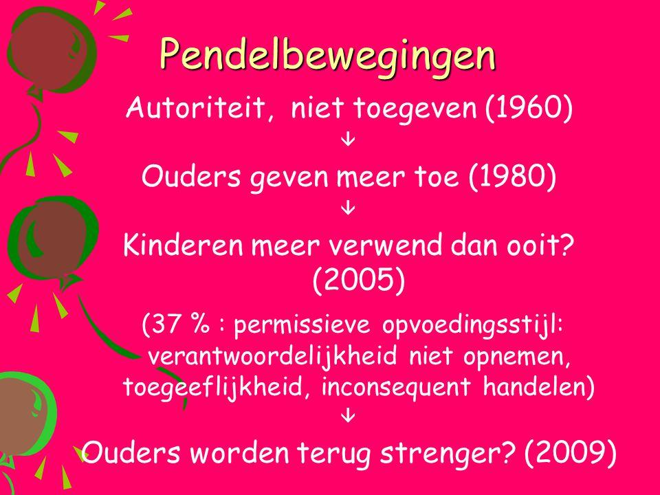 Pendelbewegingen Autoriteit, niet toegeven (1960)  Ouders geven meer toe (1980)  Kinderen meer verwend dan ooit? (2005) (37 % : permissieve opvoedin