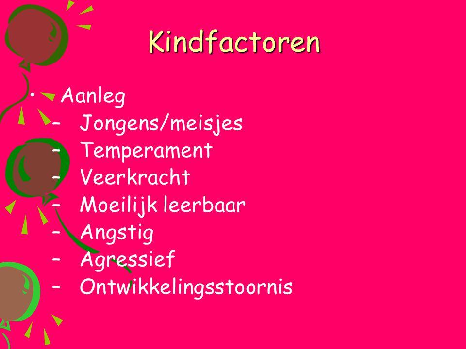 Kindfactoren •Aanleg –Jongens/meisjes –Temperament –Veerkracht –Moeilijk leerbaar –Angstig –Agressief –Ontwikkelingsstoornis