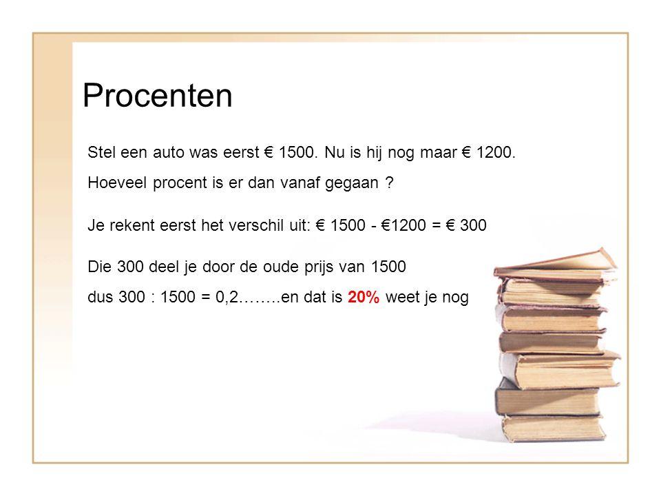 Procenten Stel een auto was eerst € 1500.Nu is hij nog maar € 1200.