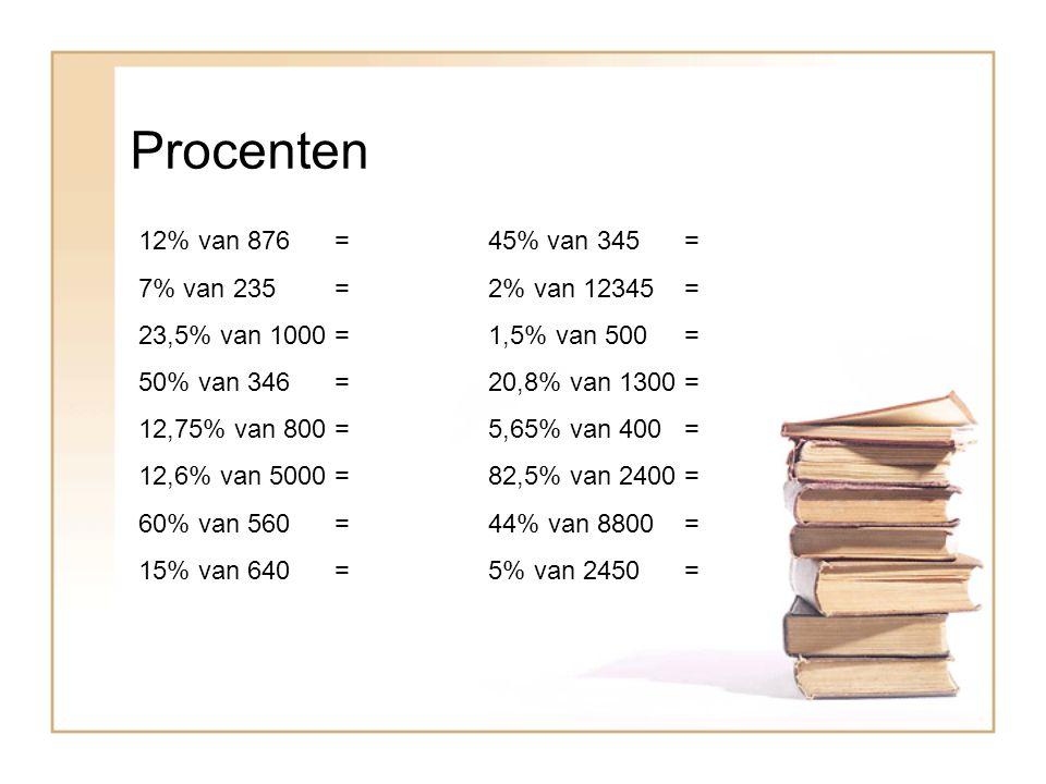 Procenten 12% van 876 = 45% van 345 = 7% van 235 = 2% van 12345 = 23,5% van 1000 = 1,5% van 500 = 50% van 346 = 20,8% van 1300 = 12,75% van 800 = 5,65% van 400 = 12,6% van 5000 = 82,5% van 2400 = 60% van 560 = 44% van 8800 = 15% van 640 = 5% van 2450 =