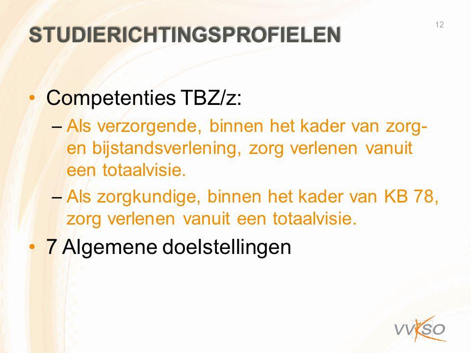 STUDIERICHTINGSPROFIELEN •Competenties TBZ/z: –Als verzorgende, binnen het kader van zorg- en bijstandsverlening, zorg verlenen vanuit een totaalvisie.