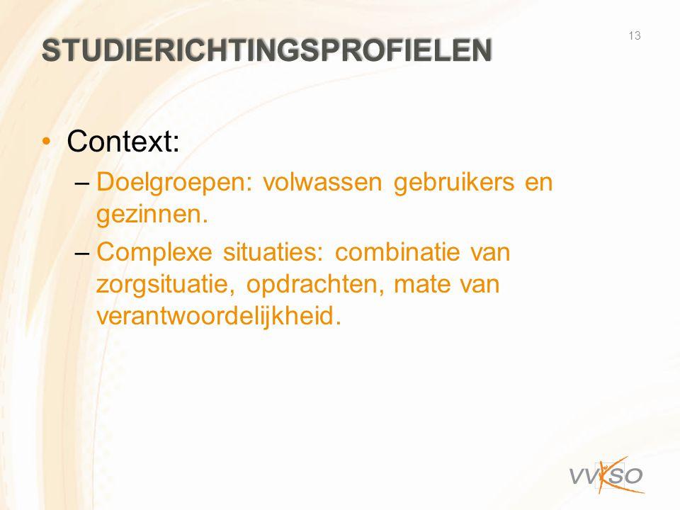 STUDIERICHTINGSPROFIELEN •Context: –Doelgroepen: volwassen gebruikers en gezinnen. –Complexe situaties: combinatie van zorgsituatie, opdrachten, mate