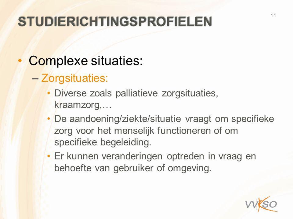 STUDIERICHTINGSPROFIELEN •Complexe situaties: –Zorgsituaties: •Diverse zoals palliatieve zorgsituaties, kraamzorg,… •De aandoening/ziekte/situatie vra