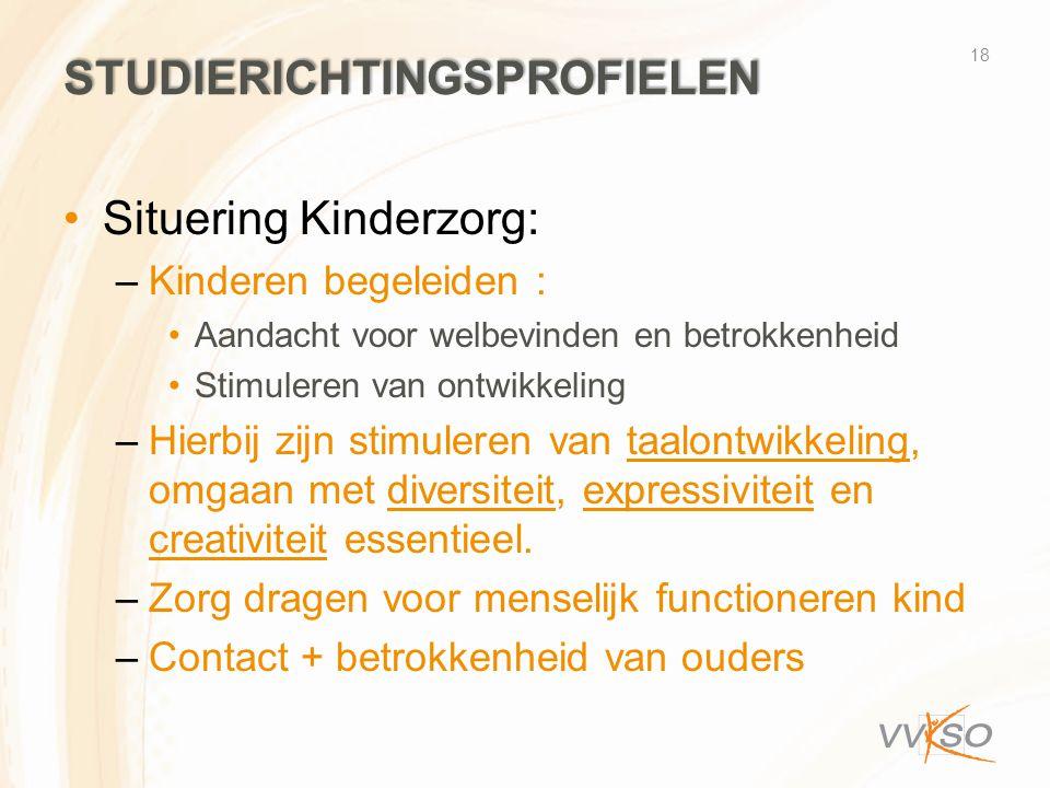STUDIERICHTINGSPROFIELEN •Situering Kinderzorg: –Kinderen begeleiden : •Aandacht voor welbevinden en betrokkenheid •Stimuleren van ontwikkeling –Hierb