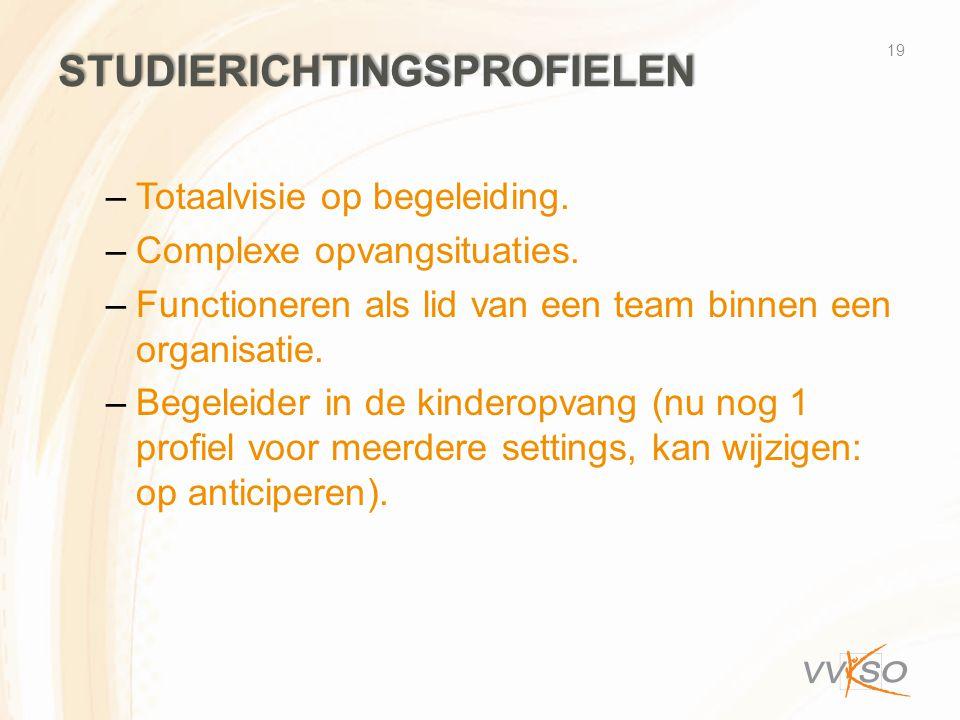 STUDIERICHTINGSPROFIELEN –Totaalvisie op begeleiding. –Complexe opvangsituaties. –Functioneren als lid van een team binnen een organisatie. –Begeleide