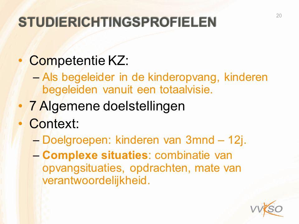STUDIERICHTINGSPROFIELEN •Competentie KZ: –Als begeleider in de kinderopvang, kinderen begeleiden vanuit een totaalvisie. •7 Algemene doelstellingen •