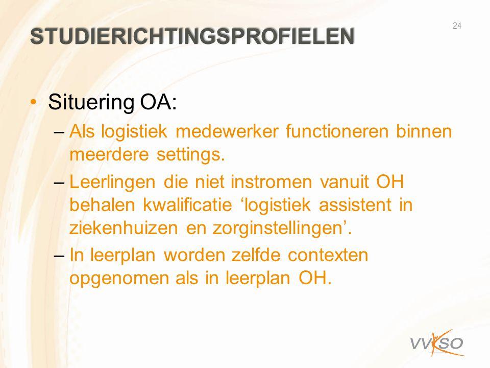 STUDIERICHTINGSPROFIELEN •Situering OA: –Als logistiek medewerker functioneren binnen meerdere settings. –Leerlingen die niet instromen vanuit OH beha