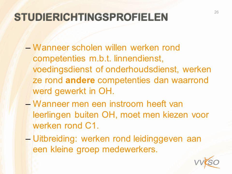 STUDIERICHTINGSPROFIELEN –Wanneer scholen willen werken rond competenties m.b.t.