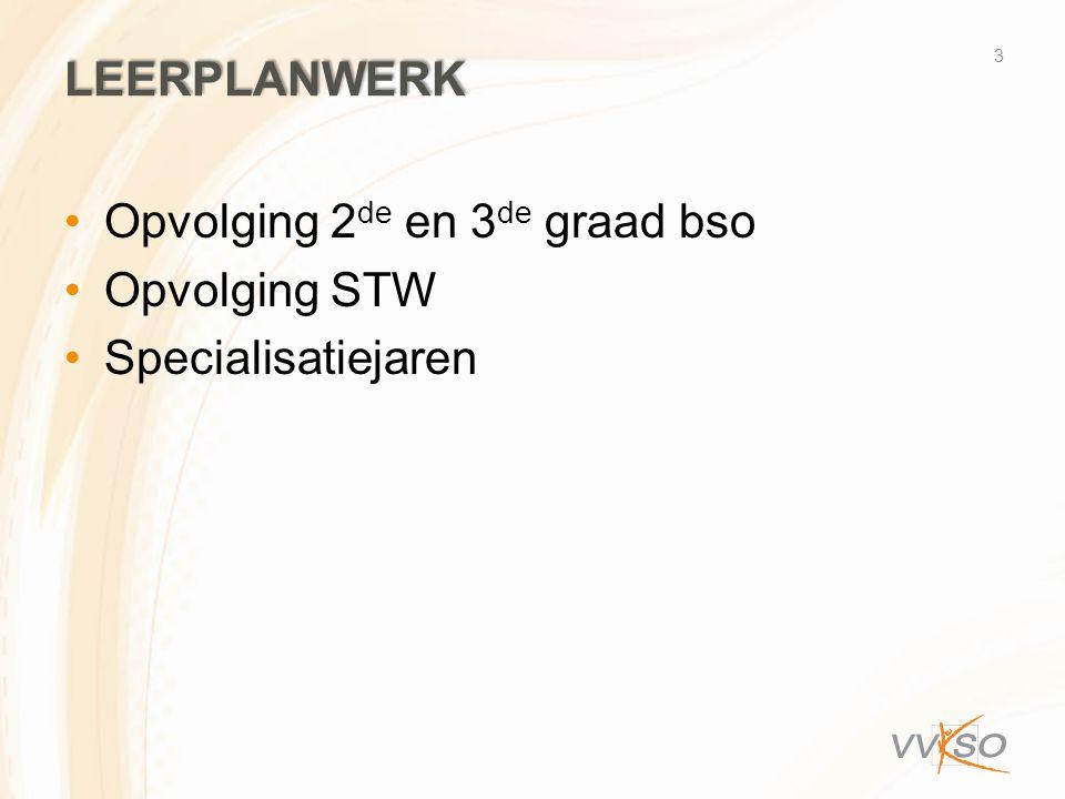 LEERPLANWERK •Opvolging 2 de en 3 de graad bso •Opvolging STW •Specialisatiejaren 3