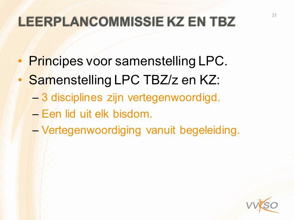 LEERPLANCOMMISSIE KZ EN TBZ •Principes voor samenstelling LPC. •Samenstelling LPC TBZ/z en KZ: –3 disciplines zijn vertegenwoordigd. –Een lid uit elk