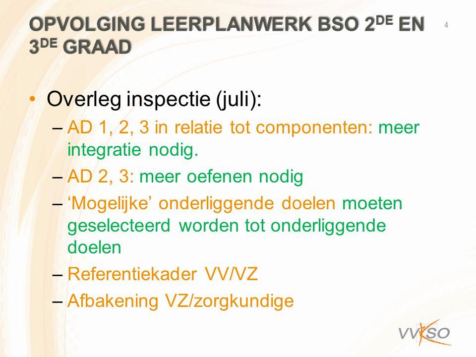 OPVOLGING LEERPLANWERK BSO 2 DE EN 3 DE GRAAD •Overleg inspectie (juli): –AD 1, 2, 3 in relatie tot componenten: meer integratie nodig. –AD 2, 3: meer
