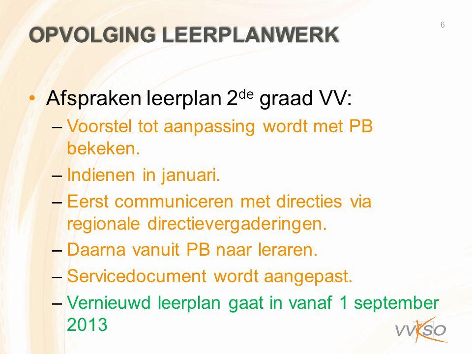 OPVOLGING LEERPLANWERK •Afspraken leerplan 2 de graad VV: –Voorstel tot aanpassing wordt met PB bekeken. –Indienen in januari. –Eerst communiceren met