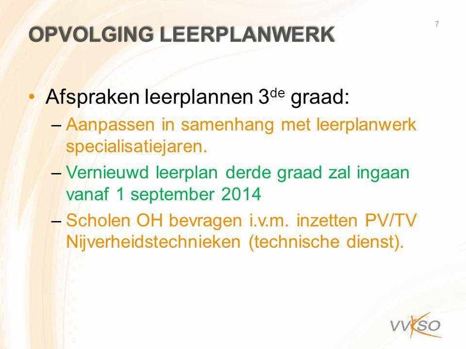 OPVOLGING LEERPLANWERK •Afspraken leerplannen 3 de graad: –Aanpassen in samenhang met leerplanwerk specialisatiejaren. –Vernieuwd leerplan derde graad
