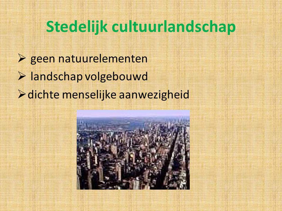 Stedelijk cultuurlandschap  geen natuurelementen  landschap volgebouwd  dichte menselijke aanwezigheid
