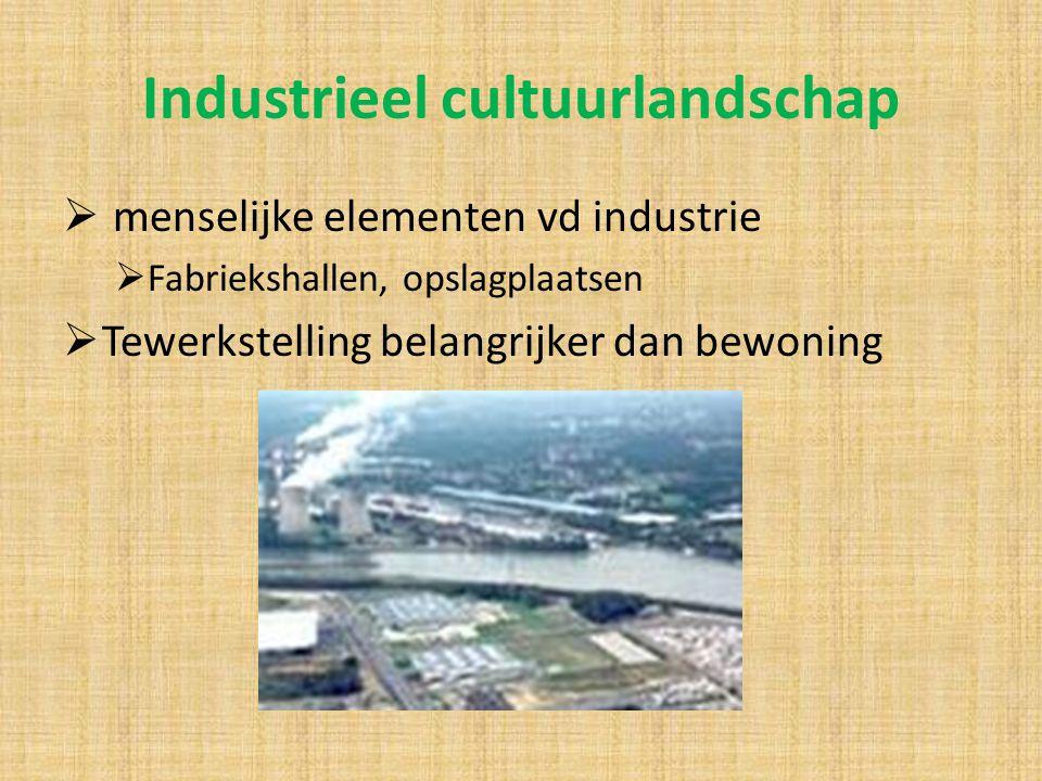 Industrieel cultuurlandschap  menselijke elementen vd industrie  Fabriekshallen, opslagplaatsen  Tewerkstelling belangrijker dan bewoning