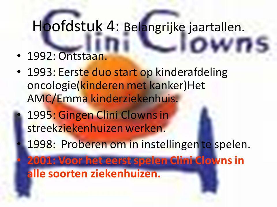 Hoofdstuk 4: Belangrijke jaartallen. • 1992: Ontstaan. • 1993: Eerste duo start op kinderafdeling oncologie(kinderen met kanker)Het AMC/Emma kinderzie